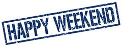 happy weekend blue grunge square vintage rubber stamp - stock illustration