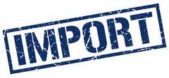 import blue grunge square vintage rubber stamp - stock illustration