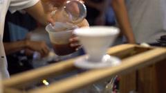 Brew at Street Market in Thailand. Fair. Night Bright Light - stock footage