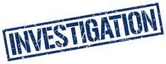 investigation blue grunge square vintage rubber stamp - stock illustration