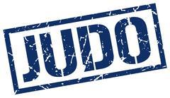 Judo blue grunge square vintage rubber stamp Stock Illustration