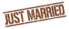 just married brown grunge square vintage rubber stamp - stock illustration