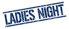 ladies night blue grunge square vintage rubber stamp - stock illustration