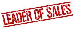 leader of sales red grunge square vintage rubber stamp - stock illustration