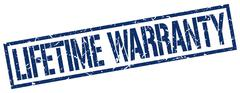 lifetime warranty blue grunge square vintage rubber stamp - stock illustration