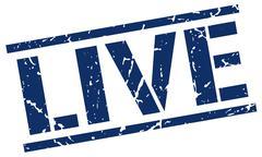 live blue grunge square vintage rubber stamp - stock illustration