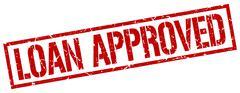 loan approved red grunge square vintage rubber stamp - stock illustration