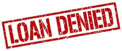 Loan denied red grunge square vintage rubber stamp Stock Illustration