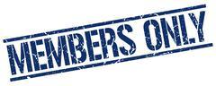 members only blue grunge square vintage rubber stamp - stock illustration