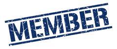 member blue grunge square vintage rubber stamp - stock illustration