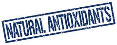 natural antioxidants blue grunge square vintage rubber stamp - stock illustration