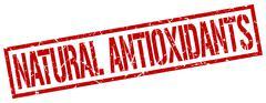 natural antioxidants red grunge square vintage rubber stamp - stock illustration