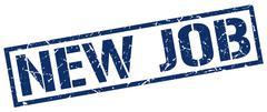 new job blue grunge square vintage rubber stamp - stock illustration