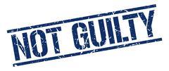 Not guilty blue grunge square vintage rubber stamp Stock Illustration