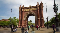 Hyperlapse of the Arc de Triomf, in Barcelona, Spain. Stock Footage