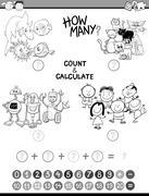 math avtivity coloring book - stock illustration