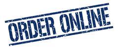 order online blue grunge square vintage rubber stamp - stock illustration