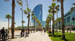 4K Hyperlapse approaching the facade of the W Barcelona, known as Hotel Vela. Stock Footage