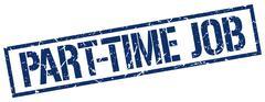 Part-time job blue grunge square vintage rubber stamp Stock Illustration