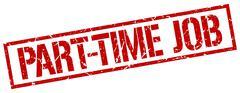 Part-time job red grunge square vintage rubber stamp Stock Illustration