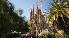4K Hyperlapse approaching the Nativity facade of La Sagrada Familia, Barcelona Stock Footage