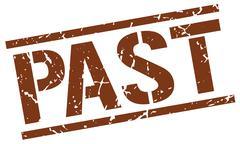 Past brown grunge square vintage rubber stamp Stock Illustration