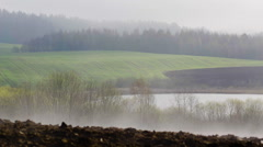 morning landscape with fog - stock footage