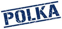 polka blue grunge square vintage rubber stamp - stock illustration