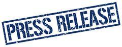 press release blue grunge square vintage rubber stamp - stock illustration