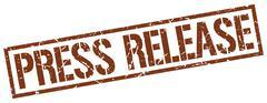 press release brown grunge square vintage rubber stamp - stock illustration