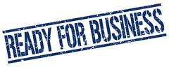 Ready for business blue grunge square vintage rubber stamp Stock Illustration
