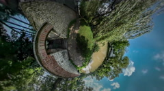 Little Tiny Planet 360 Degree Abandoned Building on a River Bank Sunny Summer Stock Footage