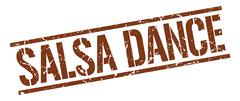 Salsa dance brown grunge square vintage rubber stamp Piirros
