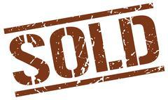 sold brown grunge square vintage rubber stamp - stock illustration