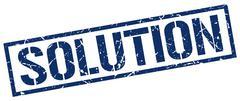 Solution blue grunge square vintage rubber stamp Stock Illustration