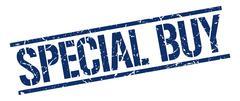 special buy blue grunge square vintage rubber stamp - stock illustration