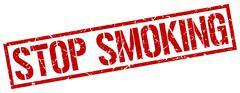 Stop smoking red grunge square vintage rubber stamp Stock Illustration