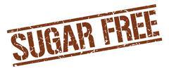 sugar free brown grunge square vintage rubber stamp - stock illustration