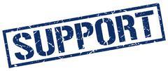 Support blue grunge square vintage rubber stamp Stock Illustration