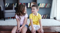 Portrait of happy children - stock footage