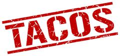 Tacos red grunge square vintage rubber stamp Stock Illustration