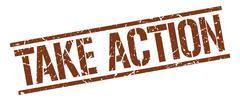 take action brown grunge square vintage rubber stamp - stock illustration