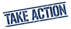 take action blue grunge square vintage rubber stamp - stock illustration