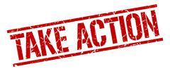 take action red grunge square vintage rubber stamp - stock illustration