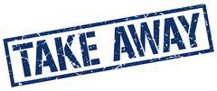 take away blue grunge square vintage rubber stamp - stock illustration