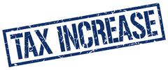 Tax increase blue grunge square vintage rubber stamp Stock Illustration