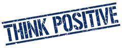 Think positive blue grunge square vintage rubber stamp Stock Illustration
