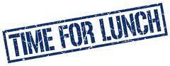 Time for lunch blue grunge square vintage rubber stamp Stock Illustration