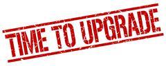 Time to upgrade red grunge square vintage rubber stamp Stock Illustration