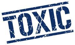toxic blue grunge square vintage rubber stamp - stock illustration